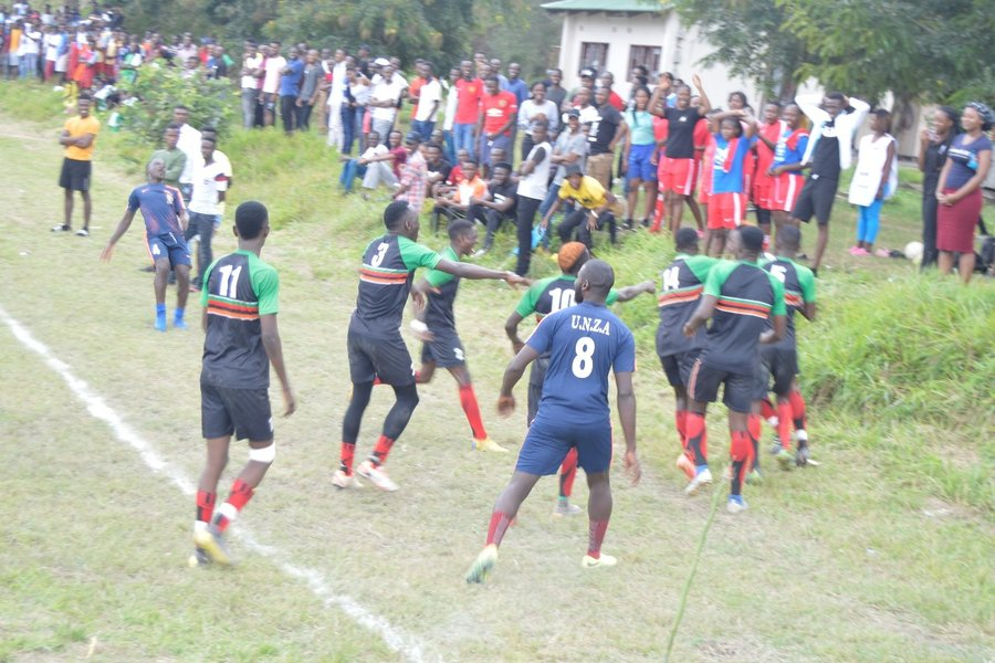 UNZA football team celebrates the winning goal in the finals