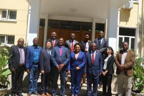 Ambassador Winnie Chibesakunda and her staff meets the Permanent Secretary Mr Mabvuto Sakala, Vice Chancellor Prof Luke Mumba and the delegation from Zambia at the Zambian Embassy in Beijing, China