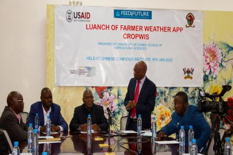 Dean School of Agricultural Sciences giving a vote of thanks during the launch of the weather app