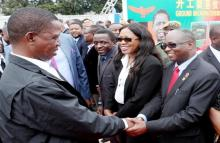 President Lungu shakes hands with UNZA Vice-Chancellor, Prof. Luke Mumba