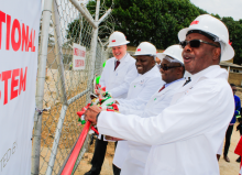 Minister of Energy Honourable Matthews Nkhuwa cutting the ribbon during the launch