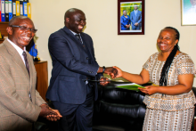 Deputy Vice Chancellor shakes hands with Mika Group of Hotels Human Resource Manager