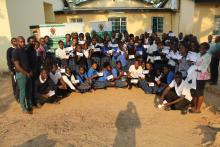 Pupils pose with certificates after the training